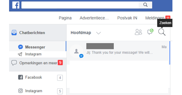 Beheer van Facebook en Instagram berichten postvak in